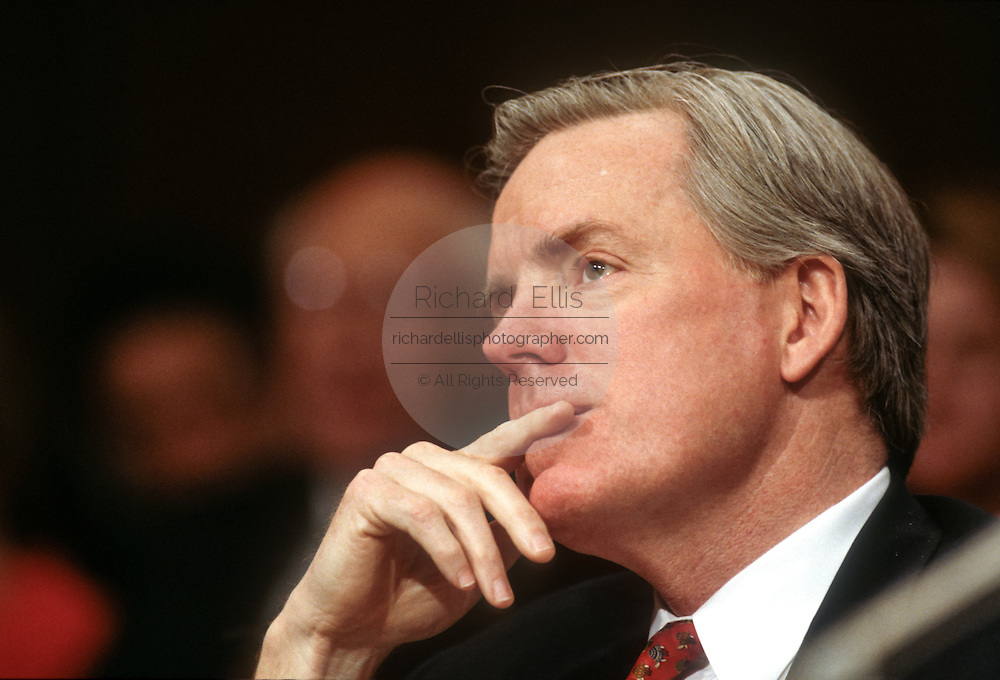 Jim Barksdale, CEO of Netscape testifies in Congress on Microsoft anti-trust allegations March 3, 1998 in Washington, DC.