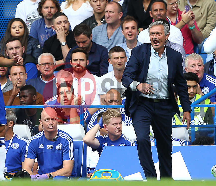 Chelsea Manager Jose Mourinho reacts after a decision from the referee - Mandatory byline: Paul Terry/JMP - 07966386802 - 29/08/2015 - FOOTBALL - Stamford Bridge -London,England - Chelsea v Crystal Palace - Barclays Premier League