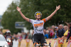 Lucinda Brand (NED) of Rabo-Liv Cycling Team celebrates winning the 97,1 km second stage of the 2016 Ladies' Tour of Norway women's road cycling race on August 13, 2016 between Mysen and Sarpsborg, Norway. (Photo by Balint Hamvas/Velofocus)