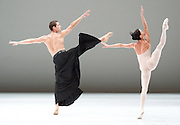 Dutch National Ballet <br /> Hans Van Manen - Master of Dance<br /> Grosse Fuge<br /> rehearsal / photocall<br /> 12th May 2011<br /> at Sadler's Wells. London, Great Britain <br /> <br /> Anna Tsygankova<br /> Alexander Zhembrovskyy<br /> Photograph by Elliott Franks