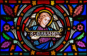 Victorian 19th century stained glass window, church of Bradfield Combust, Suffolk, England, UK - Saint Matthew