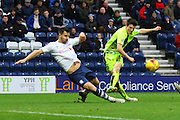 Preston North End Defender Bailey Wright challenges during the Sky Bet Championship match between Preston North End and Huddersfield Town at Deepdale, Preston, England on 6 February 2016. Photo by Pete Burns.