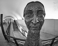 Statue in the Subway Station. Image taken with a Nikon D850 camera and 8-15 mm fisheye lens.