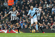 David Silva during the Premier League match between Manchester City and Newcastle United at the Etihad Stadium, Manchester, England on 20 January 2018. Photo by George Franks.