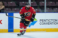 PENTICTON, CANADA - SEPTEMBER 16: Hunter Smith #71 of Calgary Flames warms up against the Winnipeg Jets on September 16, 2016 at the South Okanagan Event Centre in Penticton, British Columbia, Canada.  (Photo by Marissa Baecker/Shoot the Breeze)  *** Local Caption *** Hunter Smith;
