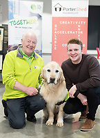 13/02/2018   Repro Free:  Frank Downes and Gallagher from the Irish Guide Dogs with Darragh O'Carroll from the Portershed who hosted a Pancake Tuesday Morning in aid of the Irish Guide Dogs . Photo: Andrew Downes