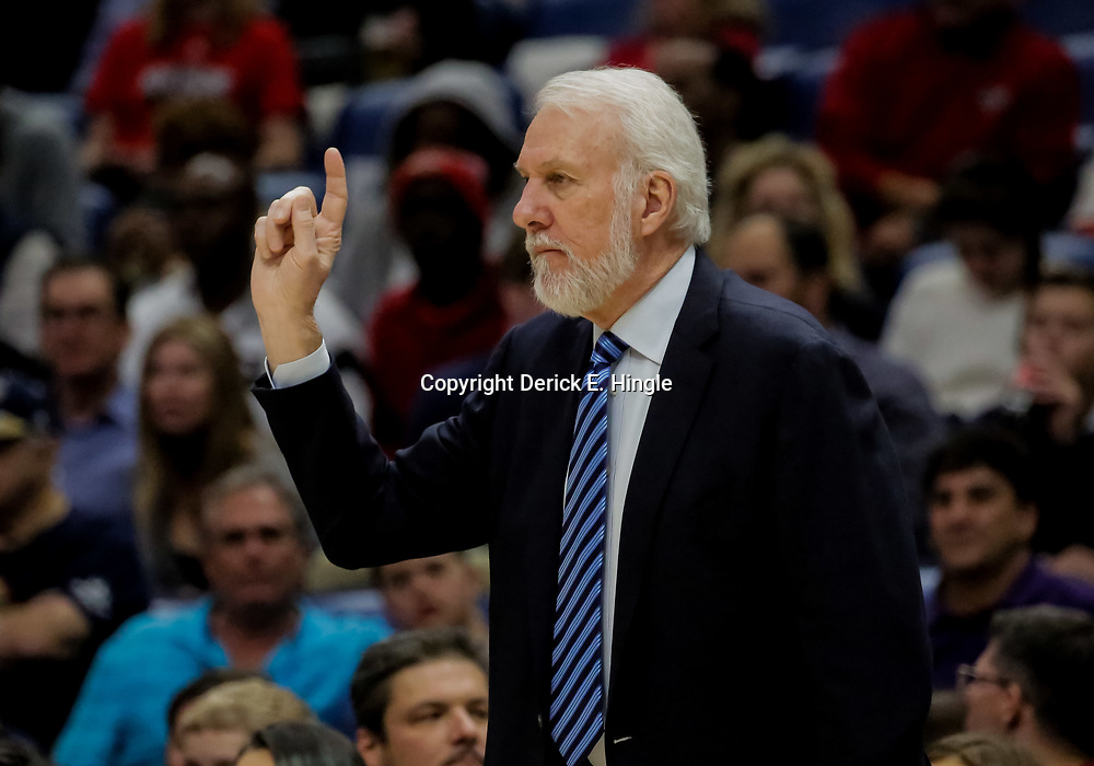 Nov 19, 2018; New Orleans, LA, USA; San Antonio Spurs head coach Gregg Popovich against the New Orleans Pelicans during the second half at the Smoothie King Center. Mandatory Credit: Derick E. Hingle-USA TODAY Sports