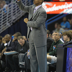 08 February 2009:  New Orleans Hornets coach Byron Scott instructs his team during a 101-97 win by the New Orleans Hornets over the Minnesota Timberwolves at the New Orleans Arena in New Orleans, LA.