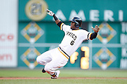 PITTSBURGH, PA - JUNE 30: Starling Marte #6 of the Pittsburgh Pirates slides at second base against the Milwaukee Brewers during the game at PNC Park on June 30, 2013 in Pittsburgh, Pennsylvania. The Pirates won 2-1 in 14 innings. (Photo by Joe Robbins)  Starling Marte