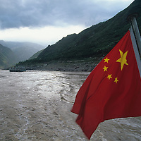China, Sichuan Province, Nanjing, Chinese national flag flies from stern Yangtze River Ferry