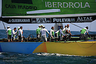 Spain's Desafio Espanol prepares to hoist genoa jib before America's Cup fleet racing; Valencia, Spain.