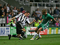 Photo: Andrew Unwin.<br /> Newcastle United v Levadia Tallinn. UEFA Cup. 28/09/2006.<br /> Newcastle's James Milner (L) looks to turn Levadia Tallinn's Aleksandr Dmitrijev (R).