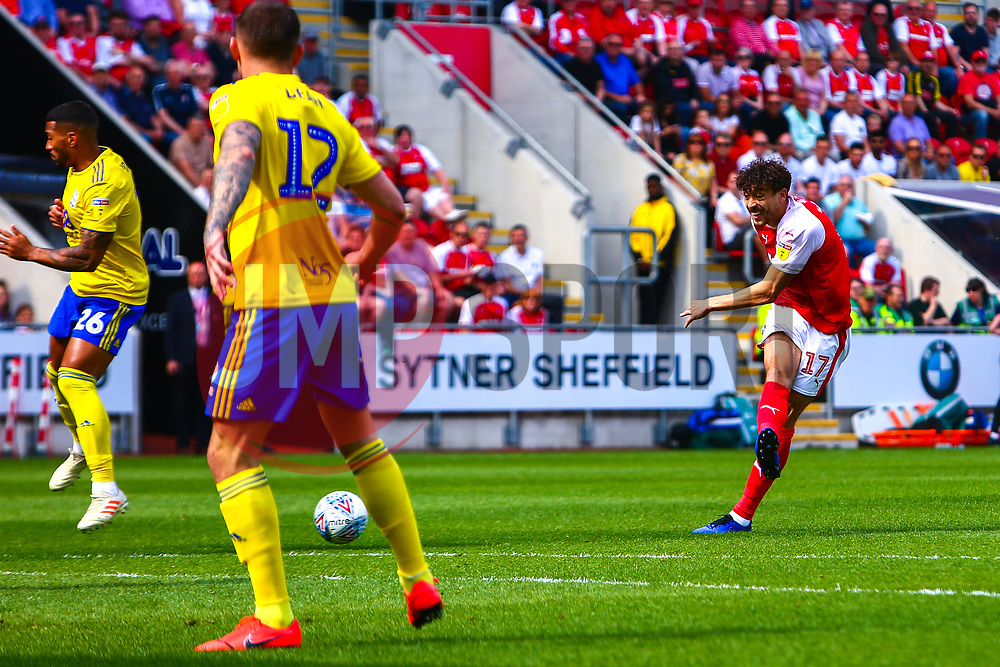 Matt Crooks of Rotherham United shoots from distance - Mandatory by-line: Ryan Crockett/JMP - 22/04/2019 - FOOTBALL - Aesseal New York Stadium - Rotherham, England - Rotherham United v Birmingham City - Sky Bet Championship