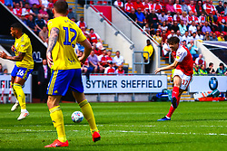 Matt Crooks of Rotherham United shoots from distance - Mandatory by-line: Ryan Crockett/JMP - 22/04/2019 - FOOTBALL - Aesseal New York Stadium - Rotherham, England - Rotherham United v Birmingham City - Sky Bet Championship