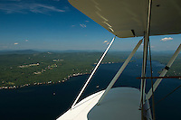 View of Lake Winnisquam looking towards Steele Hill from Lakes Biplane open cockpit WACO