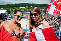 Fans at A1 Beach Volleyball Grand Slam tournament of Swatch FIVB World Tour 2010, on July 31, 2010 in Klagenfurt, Austria. (Photo by Matic Klansek Velej / Sportida)