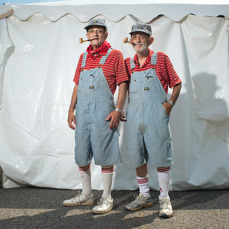 August 8, 2015 - Identical twins David and Walter Oliver of Lincoln Park, MIchigan at the 40th annual Twins Days Festival in Twinsburg, Ohio.  phone number: 313-381-3355)<br />