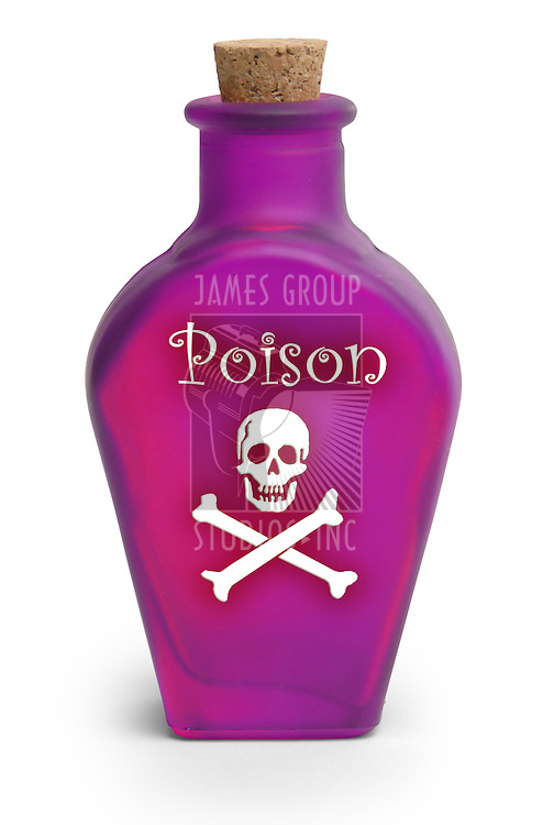 Bottle of poison on white background with clipping path