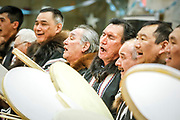 Drummers perform during the Inuvik Muskrat Jamboree. Communities in the Mackenzie Delta all hold celebrations when longer daylight hours return, heralding the impending onset of spring weather.