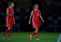 NEWPORT, WALES - Tuesday, September 3, 2019: Wales' Natasha Harding (R) and Kayleigh Gre looks dejected after the 2-2 draw with Northern Ireland during the UEFA Women Euro 2021 Qualifying Group C match between Wales and Northern Ireland at Rodney Parade. (Pic by David Rawcliffe/Propaganda)