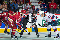 REGINA, SK - MAY 27: Samuel L'Italien #9 of Acadie-Bathurst Titan faces off against Matt Bradley #77 of Regina Pats at the Brandt Centre on May 27, 2018 in Regina, Canada. (Photo by Marissa Baecker/CHL Images)