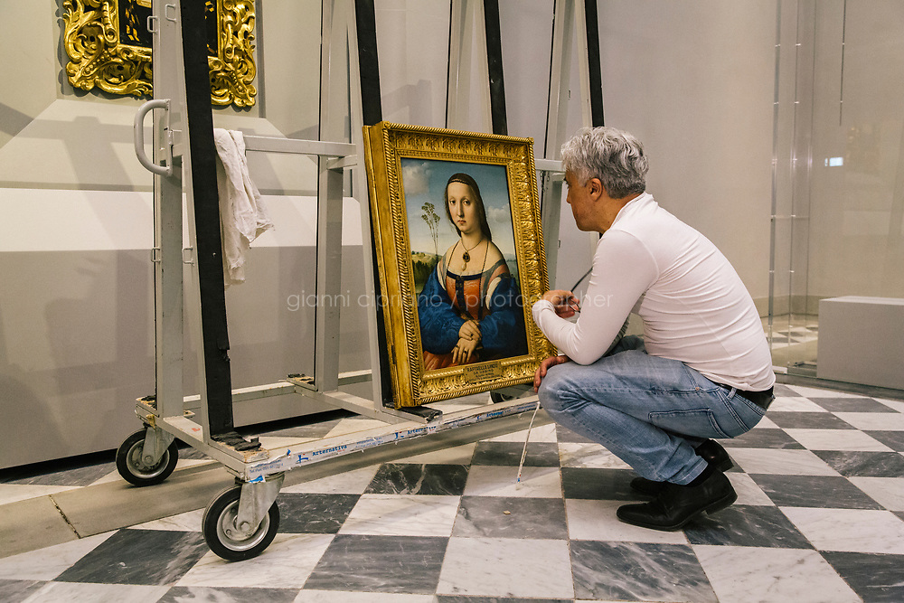 FLORENCE, ITALY - 3 JUNE 2018: A technician looks at the portrait of Maddalena Strozzi, painted by Raphael, in room 41at the Uffizi, in Florence, Italy, on June 3rd 2018.<br /> <br /> As of Monday June 4th 2018, Room 41 or the &ldquo;Raphael and Michelangelo room&rdquo; of the Uffizi is part of the rearrangement of the museum's collection that has<br /> been defining Uffizi Director Eike Schmidt&rsquo;s grander vision for the Florentine museum.<br /> Next month, the museum&rsquo;s Leonardo three paintings will be installed in a<br /> nearby room. Together, these artists capture &ldquo;a magic moment in the<br /> first decade of the 16th century when Florence was the cultural and<br /> artistic center of the world,&rdquo; Mr. Schmidt said. Room 41 hosts, among other paintings, the dual portraits of Agnolo Doni and his wife Maddalena Strozzi painted by Raphael round 1504-1505, and the &ldquo;Holy Family&rdquo;, that Michelangelo painted for the Doni couple a year later, known as the<br /> Doni Tondo.