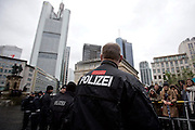 """About 800 anti-fascists demonstrated against a rally of islamophobic group """"Freie Buerger fuer Frankfurt"""" (formerly PEGIDA) in the german city of Frankfurt."""