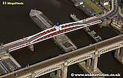 aerial photograph of the swing  bridge over the  River Tyne  Newcastle upon Tyne England UK