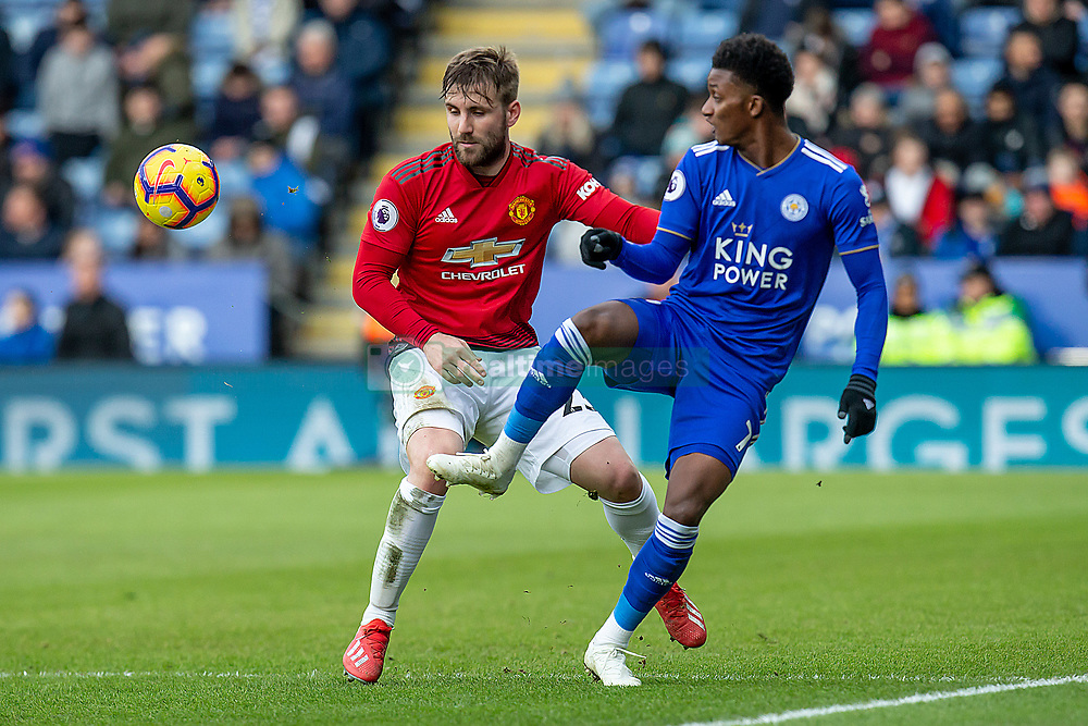February 3, 2019 - Leicester, England, United Kingdom - Demarai Gray of Leicester City fliks the ball passed Luke Shaw of Manchester United during the Premier League match between Leicester City and Manchester United at the King Power Stadium, Leicester on Sunday 3rd February 2019. (Credit Image: © Mi News/NurPhoto via ZUMA Press)