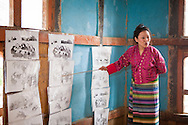 Primary school teacher during a class, Lhuntse, Bhutan, Asia