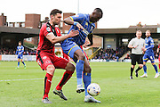 Ade Azeez forward for AFC Wimbledon (14) protects the ball during the Sky Bet League 2 match between AFC Wimbledon and Crawley Town at the Cherry Red Records Stadium, Kingston, England on 16 April 2016. Photo by Stuart Butcher.