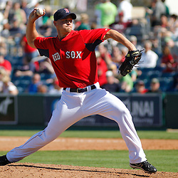 February 28, 2011; Fort Myers, FL, USA; Boston Red Sox relief pitcher Michael Bowden (64) during a spring training exhibition game against the Minnesota Twins at City of Palms Park.  Mandatory Credit: Derick E. Hingle