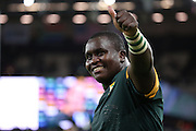 South Africa's Trevor Nyakane celebrating a strong win during the Rugby World Cup Pool B match between South Africa and USA at the Queen Elizabeth II Olympic Park, London, United Kingdom on 7 October 2015. Photo by Matthew Redman.