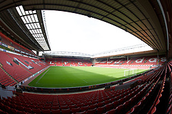 The view of the Anfield pitch from the Anfield Road Lower Stand, centre of Block 126.