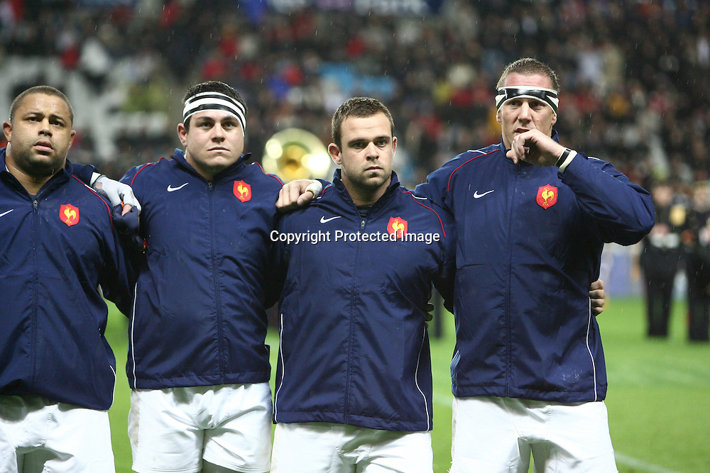 Rugby : France / Fidji - Test Match Tournee d Automne - 13.11.2010 - Luc Ducalcon - Guilhem Guirado - Jerome Schuster - Imanol Harinordoquy (France) *** Local Caption *** 00042416