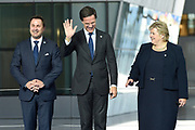 Meeting of NATO Heads of State and/or Government<br /> Brussels, Belgium -  Official portrait in the Agora<br /> <br /> On the photo:  (third row from L) Lituania's President Dalia Grybauskaite, Luxembourg's Prime Minister Xavier Bettel, Dutch Prime Minister Mark Rutte, Norway's Prime Minister Erna Solberg