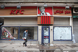 A KFC restaurant destroyed by protesters in downtown Cairo.