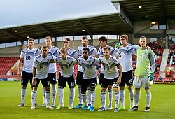 WREXHAM, WALES - Tuesday, September 10, 2019: Germany players line-up for a team group photograph before the UEFA Under-21 Championship Italy 2019 Qualifying Group 9 match between Wales and Germany at the Racecourse Ground. Back row L-R: Vitaly Janelt, Nico Schlotterbeck, Adrian Fein, Janni Serra, Julian Chabot, Luca Kilian, goalkeeper Markus Schubert. Front row L-R: Niklas Dorsch, Robin Hack, Both Baku, Johannes Eggestein. (Pic by David Rawcliffe/Propaganda)