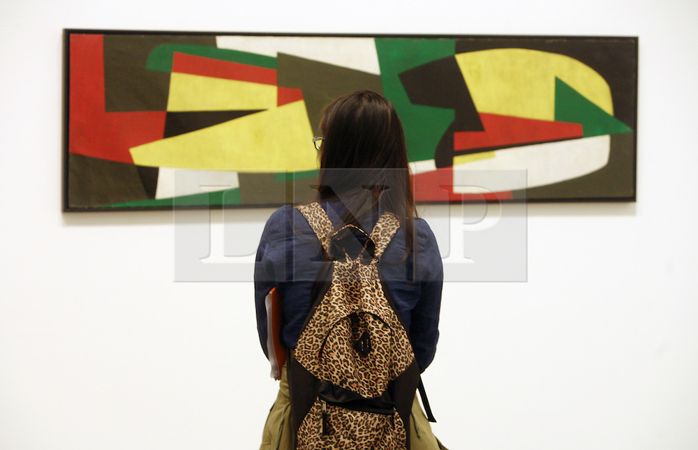 © Licensed to London News Pictures 16/04/2013.A woman examines one of the paintings during the press review of Slaoua Raouda Choucair's exhibition that is on display at the Tate Modern..London, UK.Photo credit: Anna Branthwaite/LNP