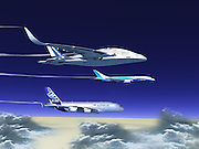 The future of air travel? Three-storey Sky Whale fits 755 passengers, has virtual reality windows and self-healing wings<br /> <br /> It has three decks, tilting Harrier-style jets and breaks itself up into pieces during a crash landing - and could be the future of air travel.<br /> Called Sky Whale, the concept aeroplane it set to be bigger than an Airbus A380, look like a spacecraft and have 'self-healing' wings that repair themselves.<br /> The aircraft would split passengers into three classes, each with their own deck, in a modern-day version of the Titanic's strict division of passengers.<br /> <br /> Every passenger would additionally have virtual reality windows to keep themselves entertained on long flights.<br /> <br /> The AWWA Sky Whale was created by Spanish designer Oscar Viñals and is so big it was  described by Dvice as looking 'more like something thought up for the Transformers movie franchise than a legitimate aircraft'.<br /> The tilting engines would make it possible for the Sky Whale to take off on the spot - and, according to the plans, if it crashes the passenger section would separate from the wings to reduce the loss of life.<br /> The craft matches advances in technology with a huge capacity of 755 passengers, making it economically viable for an airline.<br /> <br /> <br /> The Sky Whale would have a wingspan of 88m compared to 80m for an Airbus A380 and 64m for a Boeing 747.<br /> The three classes would be 'tourist class', the equivalent of economy, 'tourist class with sky views', or business class, and finally 'first class', which would also have sky views and 'all conceivable luxuries'.<br /> It is not clear how passengers would be able to look at the view, though given the size of the craft it is likely to have larger windows than those fitted to the back of current plane seat ones.<br /> Those in economy would not be without, though - their windows would be fitted with virtual reality screens so passengers could see whatever they want.<br /> <br /> Viñals, who is based in Barcelona, said the Sky Whale would be built ou