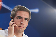 Philipp Lahm (defender; Bayern Munchen) during a press conference held at Santiago Bernabeu stadium in Madrid, Spain, 17 April 2017. Real Madrid will face Bayern Munich in a Champions League quarter finals second leg soccer match on 18 April.
