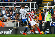 Stoke City Forward Marko Arnautovic getting the cross in  during the Barclays Premier League match between Newcastle United and Stoke City at St. James's Park, Newcastle, England on 31 October 2015. Photo by Craig McAllister.