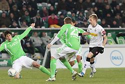04.02.2012, Volkswagen Arena, Wolfsburg, GER, 1. FBL, VfL Wolfsburg vs Borussia Moenchengladbach, 20. Spieltag, im Bild Marco REUS (Bor. Moenchengladbach, re.), Felipe LOPES (VfL Wolfsburg, li.), Marco RUSS (VfL Wolfsburg, Nr. 23), JOSUE (VfL Wolfsburg, Nr. 7) // during the German Bundesliga Match between VfL Wolfsburg vs Borussia Moenchengladbach at the Volkswagen Arena in Wolfsburg, Germany, 2012/02/04. EXPA Pictures © 2012, PhotoCredit: EXPA/ Eibner/ Holger Sieglitz..***** ATTENTION - OUT OF GER *****