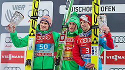 06.01.2016, Paul Ausserleitner Schanze, Bischofshofen, AUT, FIS Weltcup Ski Sprung, Vierschanzentournee, Bischofshofen, Siegerehrung Tageswertung, im Bild v. l.: Severin Freund (GER, 2. Platz), Peter Prevc (SLO, Tagessieger) und Michael Hayboeck (AUT, 3. Platz) // f. l.: 2nd placed Severin Freund of Germany Winner Peter Prevc of Slovenia and 3rd placed Michael Hayboeck of Austria celebrates on podium of the Four Hills Tournament of FIS Ski Jumping World Cup at the Paul Ausserleitner Schanze in Bischofshofen, Austria on 2016/01/06. EXPA Pictures © 2016, PhotoCredit: EXPA/ JFK