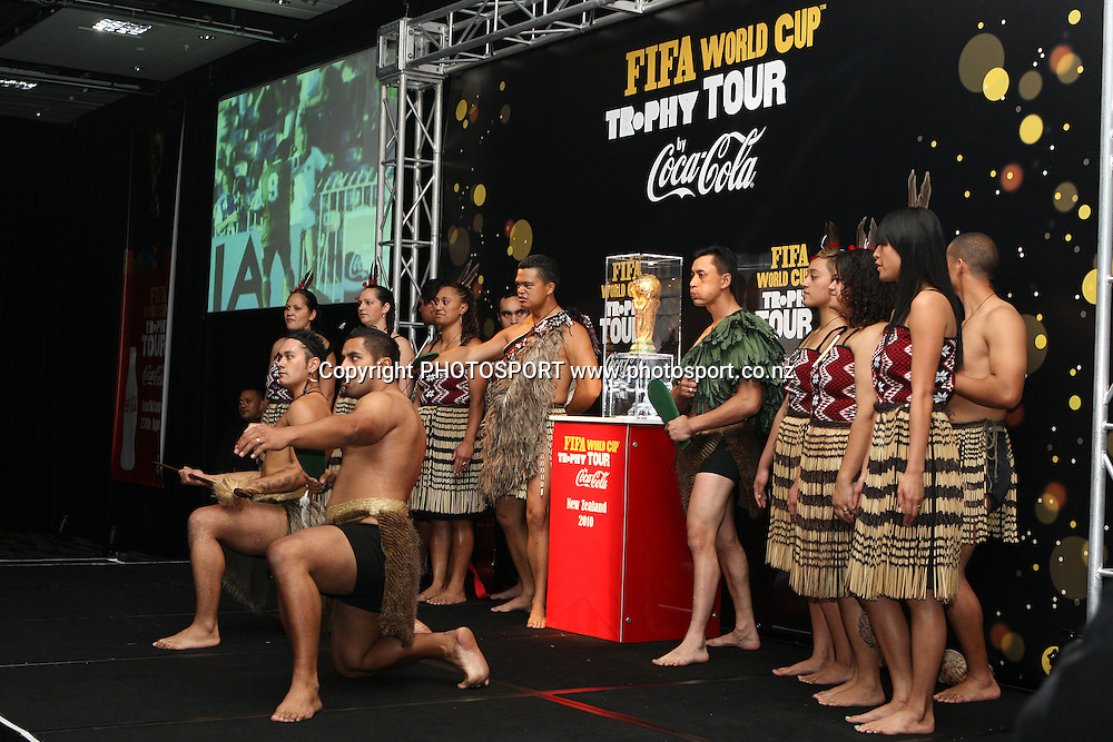 A kapa-haka group welcome the spokespeople, The FIFA World Cup visits Auckland New Zealand on the trophy tour ahead of the 2010 football World Cup. Skycity Convention Centre, Auckland, New Zealand. 27 April 2010. Photo: William Booth/PHOTOSPORT