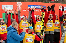 Team Poland, winners in Overall Ski Jumping World Cup Team classification celebrates at trophy ceremony after the Ski Flying Hill Men's Individual Competition at Day 4 of FIS Ski Jumping World Cup Final 2017, on March 26, 2017 in Planica, Slovenia. Photo by Vid Ponikvar / Sportida