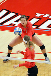 28 September 2014:  Ashley Rosch and Jaelyn Keene during an NCAA womens volleyball match between the Evansville Purple Aces and the Illinois State Redbirds at Redbird Arena in Normal IL