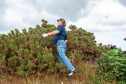 Miguel Angel Jimenez looks for a line to the green after missing the 4th fairway during round 3 of the Seniors Open St Andrews, West Sands, Scotland on 28 July 2018. Picture by Malcolm Mackenzie.