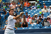 David Goffin (BEL) hits a forehand to Richard Gasquet (FRA) during the Western and Southern Open tennis tournament at Lindner Family Tennis Center, Saturday, Aug 17, 2019, in Mason, OH. (Jason Whitman/Image of Sport)