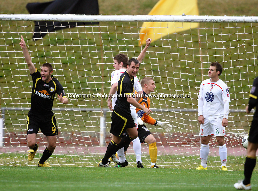 Wellington's Greg Draper (left) celebrates opening the scoring.<br /> NZFC soccer  - Team Wellington v Waitakere United at Newtown Park, Wellington. Sunday, 4 April 2010. Photo: Dave Lintott/PHOTOSPORT